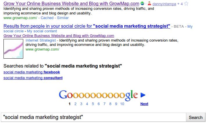 """Google """"Social Media Marketing Strategist"""" serps"""